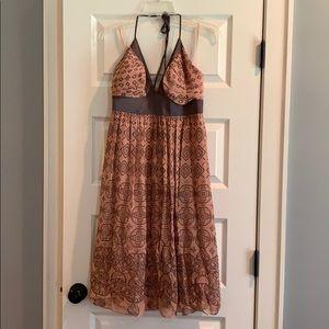 Max & Cleo Lined Chiffon/Silk Halter Midi Dress